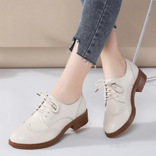 Chic Leather Lace up Oxford Shoes