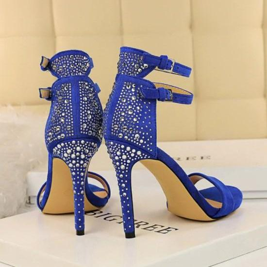 Crystal Stiletto High Heels Platform Sandals