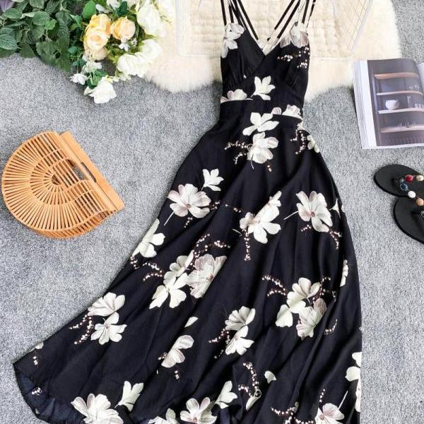 Printed V Neck High Waist Sleeveless Maxi Dress