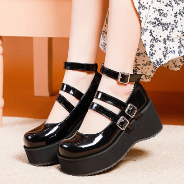 Lolita PU Leather Stylish Platform Shoes