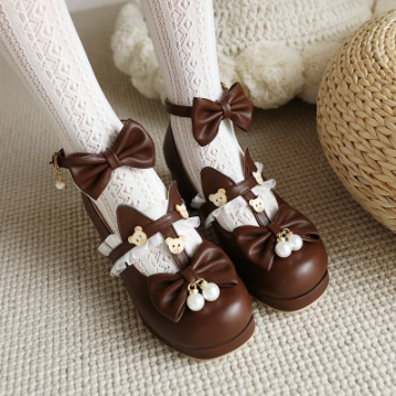 Mary Jane Bow tie Kawaii High Heels Fashion Shoes