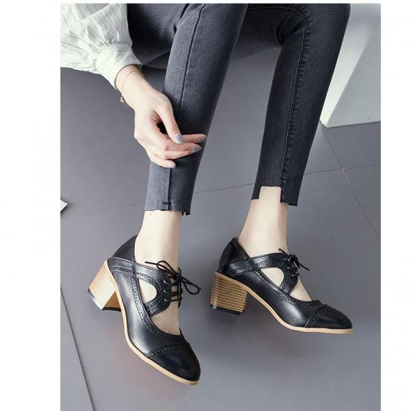 Chic Round Toe Lace up High Heels Oxford Shoes