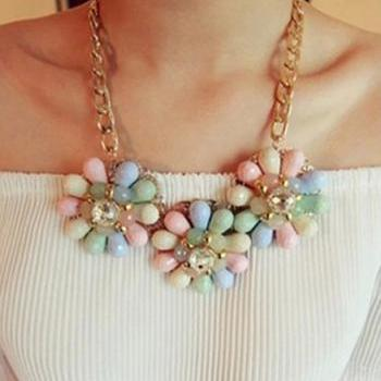 Cute Pastel Crystal Floral Necklace with Gold Chain