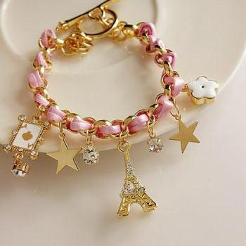 Girly Paris Inspired Charmed Bracelet in Pink