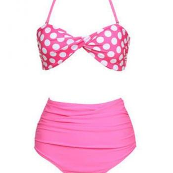 Pink Twisted Bow Design Polka dots Two Pieces Bikini Set