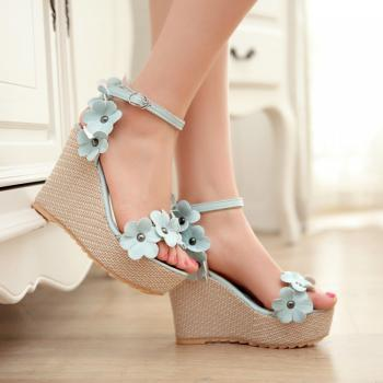 High Heel Ankle Strap Blue PU Sandals