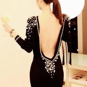 Sexy Pearl Rivets Backless Black Party Dress