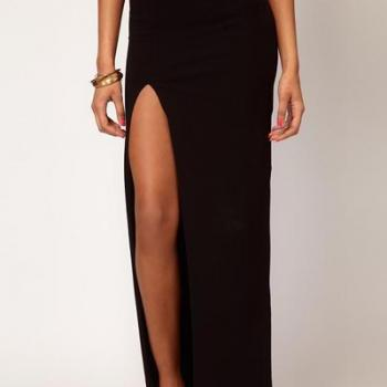 Black Pencil Maxi Skirt Featuring High Slit