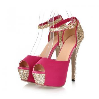 Beautiful Peep Toe Diamond Design High Heel Sandals in Pink,Blue and Black