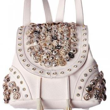 Studded Back pack in Black and Apricot