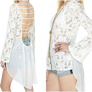 Lace and Chiffon High Low Open Back White Top
