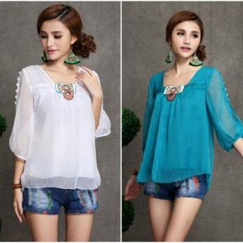 Boho Chic Chiffon Blouse in 4 Colors