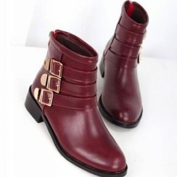 Claret Red Buckle Design Martin Boots