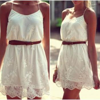 Charming Bohemian Spaghetti Strap White Lace Dress