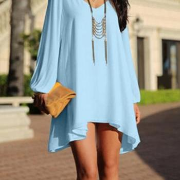 Gorgeous V neck Light Blue High Low Design Dress