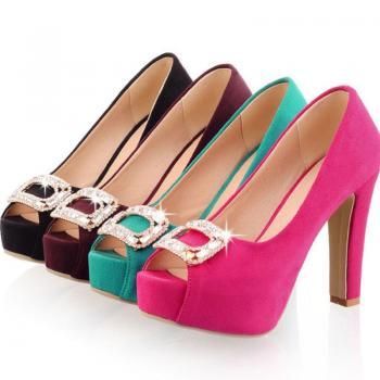 Peep Toe Rhinestone Design High Heels Fashion Shoes in 4 Colors