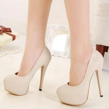 Chic Round toe High Heel Fashion Shoes in Apricot and Black