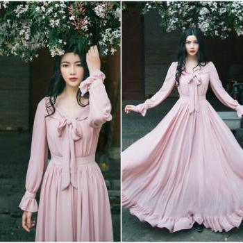 Beautiful Vintage Inspired Long Sleeve Pink Dress with Bow