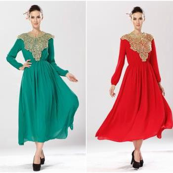 Elegant Long Sleeve Pleated Dress with Lace Detail Available in Red and Green
