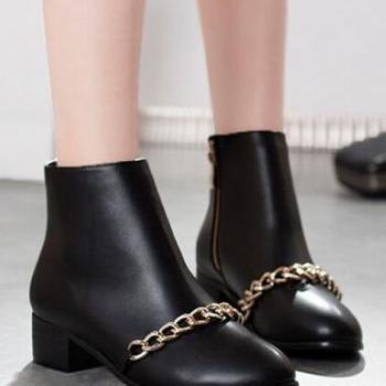 Black Ankle Boots With Gold Chain Design