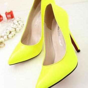 Patent Leather Pointed-Toe High Heel Stilettos in Yellow or Blue