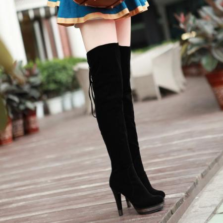 Lace Up Over the Knee Black Winter Boots