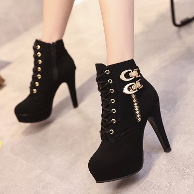 Cute Black High Heel Boots with Lace Detail