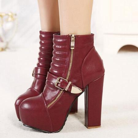 Wine Red Classy Design Chunky Heel Fashion Boots
