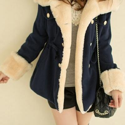 Stylish Deep Blue Warm Winter Coat
