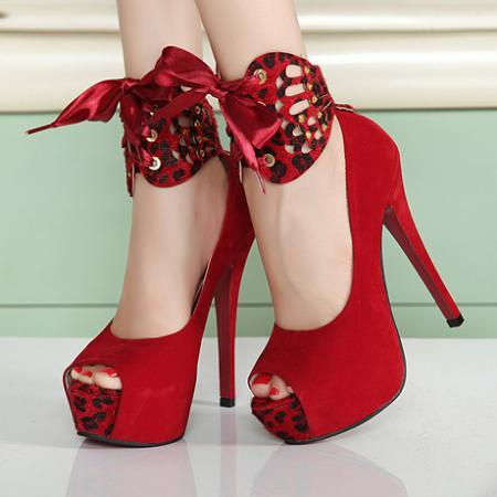 Gorgeous Peep toe Red Bow Embellished High Heel Shoes