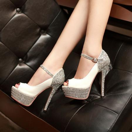 Sexy Stiletto Heels White Metallic Peep toe Pumps