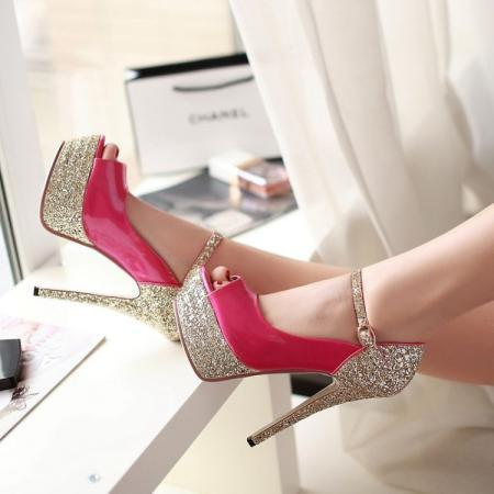 Elegant Metallic Peep Toe High Heel Sandals in Rose Pink