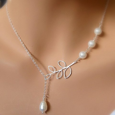 Elegant Pearls and Leaf Charmed Silver Layered Necklace