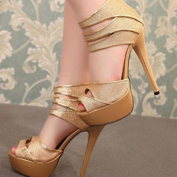 Sexy Metallic Gold Roman Style High Heels Sandals