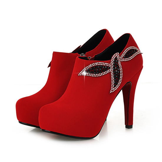 Sexy Red Rhinestone Embellished High Heel Booties