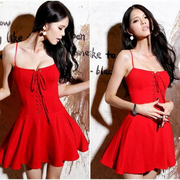 Sexy Red Lace Up Pleated Mini Dress