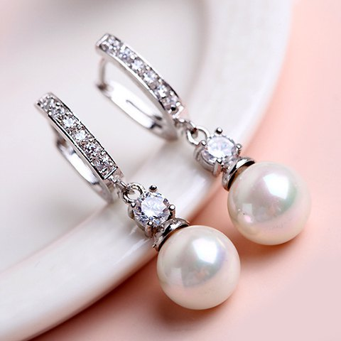 Elegant Rhinestone Pearl Earrings