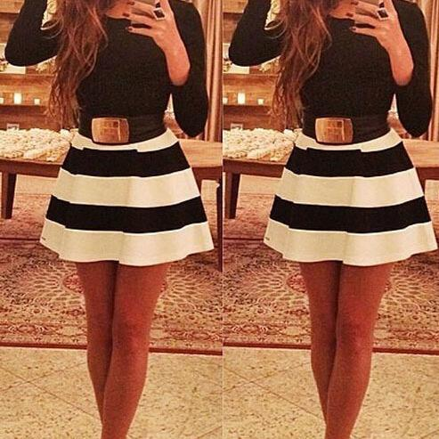 Chic Black and White Long Sleeve Dress