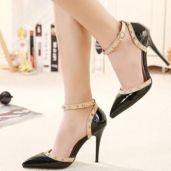 Rivet Embellished Patent Leather Pointed-Toe Ankle Strap High Heel Stilettos
