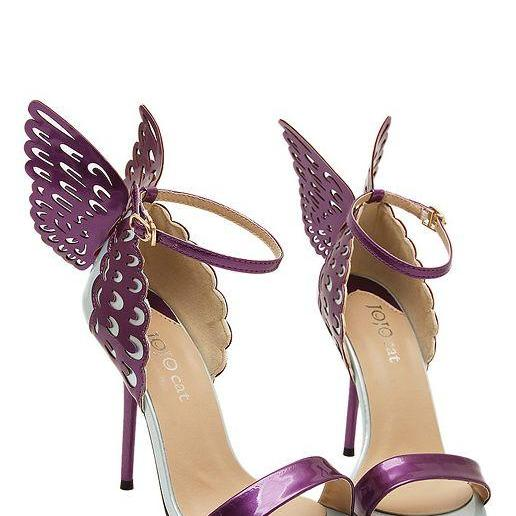 Gorgeous Purple Butterfly Wings High Heels Fashion Shoes
