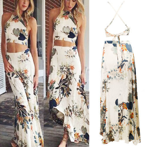 Cross Back Printed Two Piece Maxi Dress