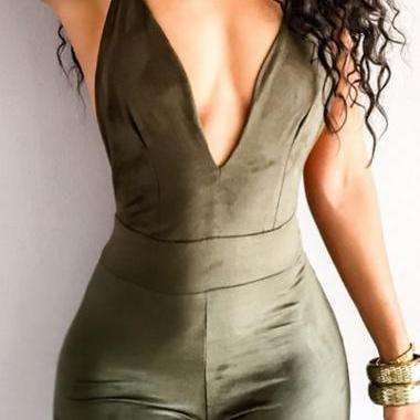 Sexy V Neck Army Green Jumpsuit