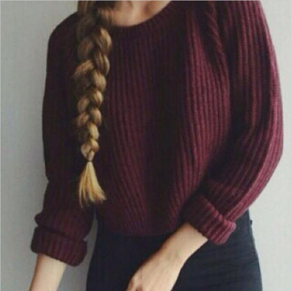 Wine Red Knitted Pullover