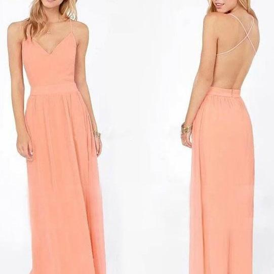 Peach Chiffon Long Dress