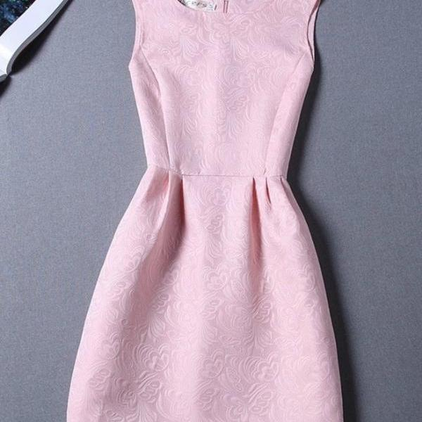 Sleeveless Pink A Line Fashion Dress