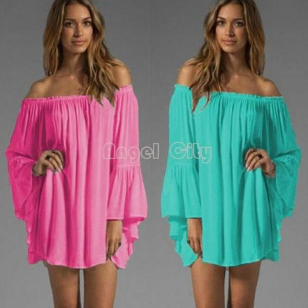 Off Shoulder Loose Chiffon Summer Dress