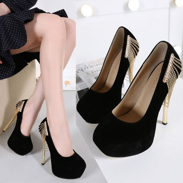 Suede With Chain High Heel Shoes