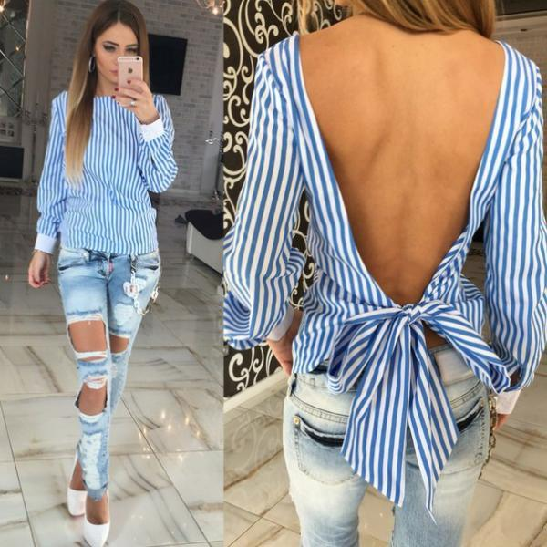 Classy Bow knot Back Long Sleeve Top