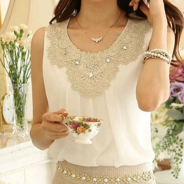 Chiffon Sleeveless Blouse with Lace Detail