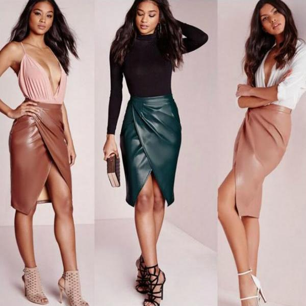 Faux Leather Wrapped Pencil Skirt